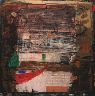 Old Wall by Aditya Sagar, Naive Painting, Mixed Media on Canvas, Brown color