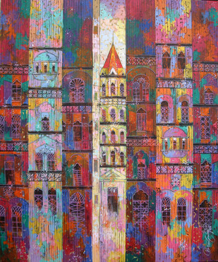 Colour City - 761 by Suresh Gulage, Art Deco Painting, Acrylic on Canvas, Brown color
