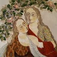 Sakhiya 01 by Jayshree P Malimath, Traditional Painting, Acrylic on Canvas, Brown color