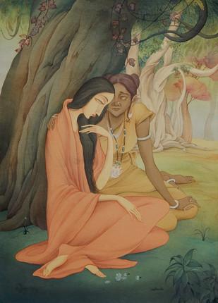 Sita & Sarama by Rajib Gain, Realism Painting, Watercolor Wash on Paper, Brown color