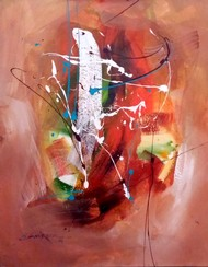 Ganesha by Gulrez Ali, Abstract Painting, Acrylic on Canvas, Brown color