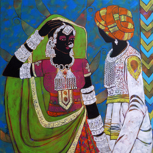 Ethnic Serendipity 49 by Anuradha Thakur, Traditional Painting, Acrylic on Canvas, Green color