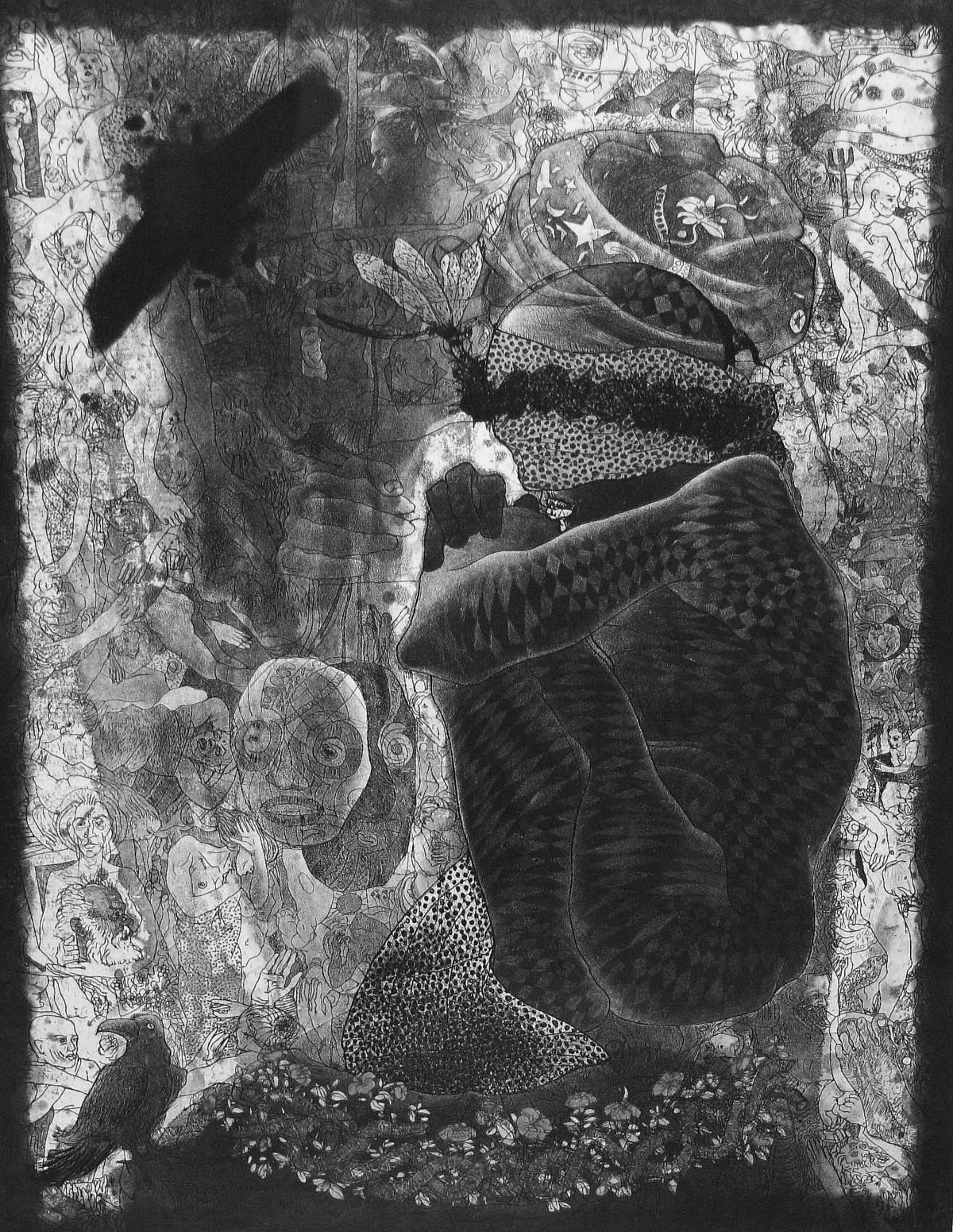 Dream Seller by V Nagdas, Illustration Printmaking, Etching on Paper, Gray color