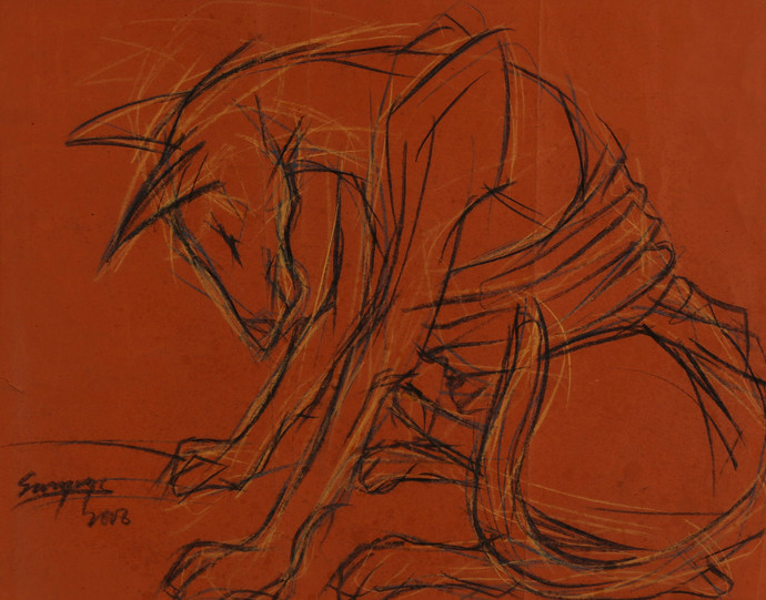 Dog III by Sourareya Chakraborty, Illustration Drawing, Mixed Media on Paper, Brown color