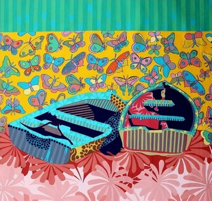 Boat With Butterfly I by Barkha jain, Decorative Painting, Mixed Media on Canvas, Green color