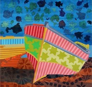 Nature Boat 4 by Barkha jain, Decorative Painting, Mixed Media on Canvas, Blue color