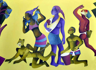 Indian Tribals by Nitai Das, Decorative Painting, Acrylic on Canvas, Beige color