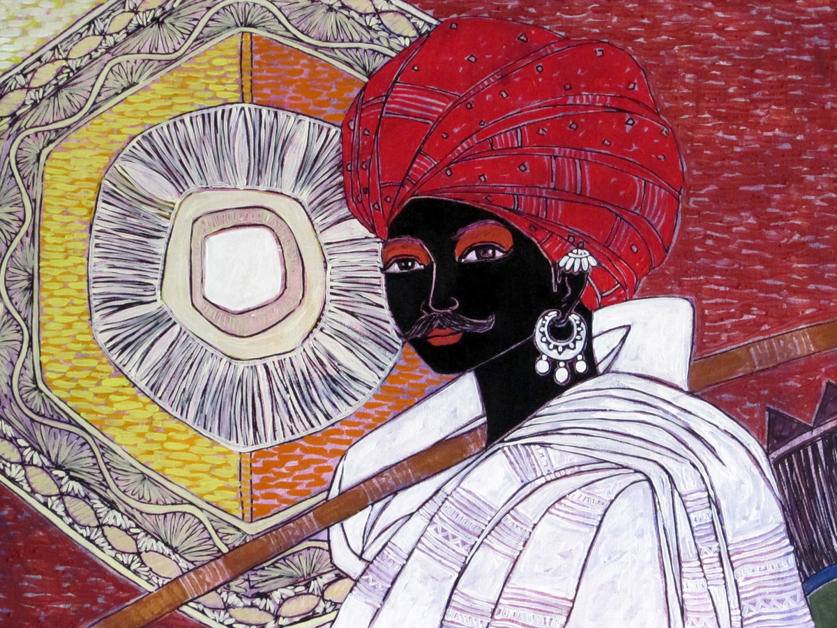 Serene Harmony 15 by Anuradha Thakur, Traditional Painting, Acrylic on Canvas, Brown color