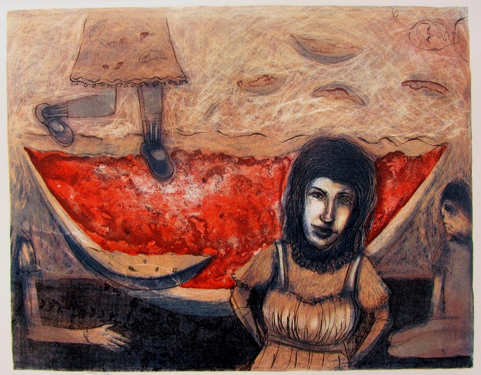 Ready to Eat by Neeraj Singh Khandka , Expressionism Printmaking, Lithography on Paper, Brown color