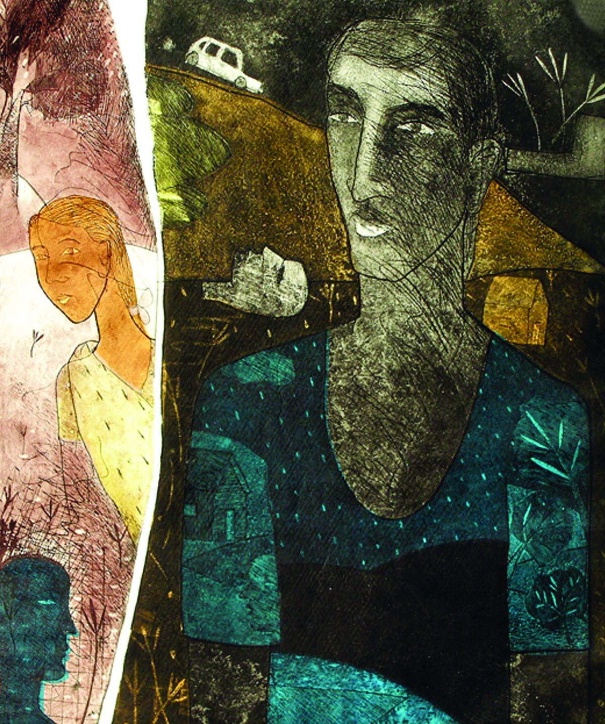Untitled 2 by Chippa Sudhakar, Conceptual Printmaking, Etching on Paper, Green color