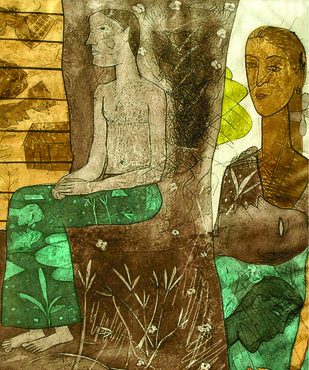 Untitled 3 by Chippa Sudhakar, Conceptual Printmaking, Etching on Paper, Brown color