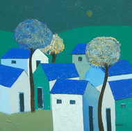 Village by Nagesh Ghodke, Decorative Painting, Acrylic on Canvas, Cyan color