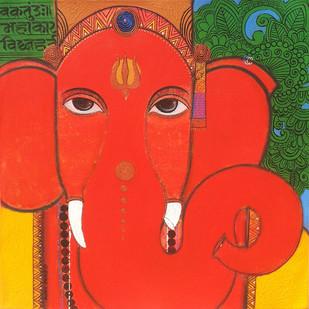 Lord Ganesha 2 by Ashok Rathod, , , Red color