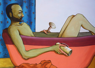 Bathroom Philosophy Digital Print by Viraj Jaulkar,Conceptual