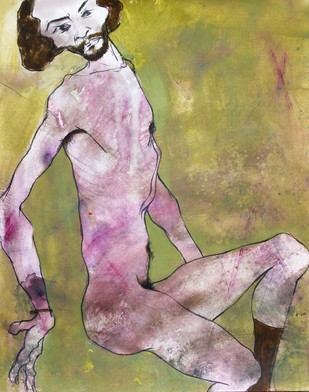Untitled by Viraj Jaulkar, Conceptual Painting, Mixed Media on Paper, Beige color