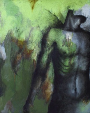 """annoyed"" by Viraj Jaulkar, Conceptual Painting, Mixed Media on Canvas, Green color"