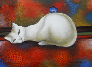 Dream cat by Sumitra Chattopadhyay, Fantasy Painting, Acrylic on Canvas, Brown color
