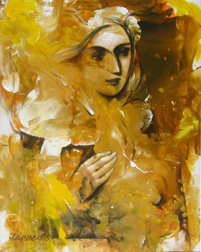 She - 4 by Tapas Sardar, Expressionism Painting, Acrylic on Canvas, Brown color