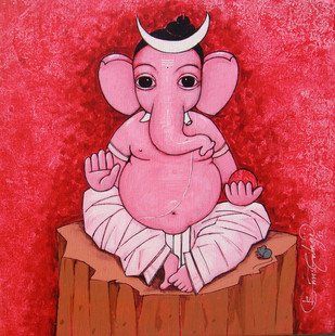 Ganesh - 570 by Suresh Gulage, Decorative Painting, Acrylic on Canvas, Red color