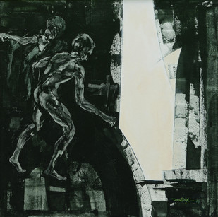 Obstruction 2 by Pradip Muhuri, Conceptual Painting, Acrylic on Canvas, Gray color