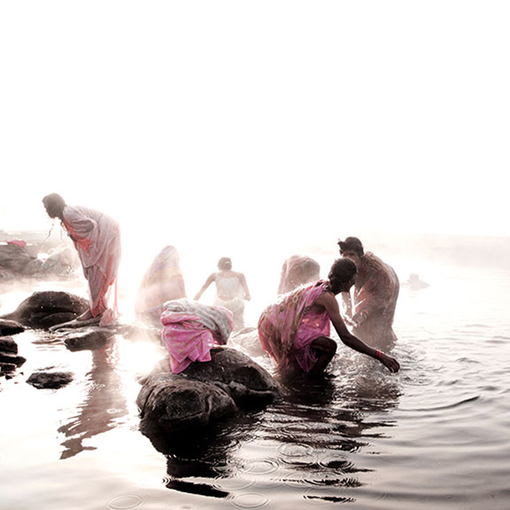 Misty Bath by CR Shelare, Image Photograph, Digital Print on Canvas, White color