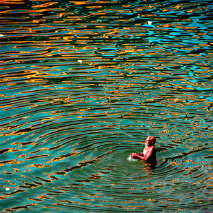 Ripples of Mind by CR Shelare, Image Photograph, Digital Print on Canvas, Green color