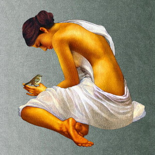 Woman with a Sparrow by Amiya Bhattacharya, , , Gray color