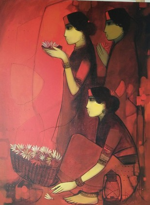 welcome evening by Sachin Sagare, Traditional Painting, Acrylic on Canvas, Brown color