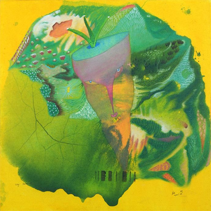 Veg Face 2 by Babu Xavier, Conceptual Painting, Acrylic on Canvas, Green color