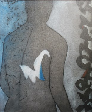 Forms by Chandra Bhattacharjee, Conceptual Painting, Acrylic on Canvas, Gray color