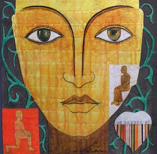 Untitled by Chippa Sudhakar, Decorative Painting, Mixed Media on Wood, Orange color
