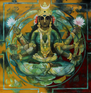 Shakthi -090 by Rajeshwar Nyalapalli, Decorative Painting, Acrylic on Canvas, Green color