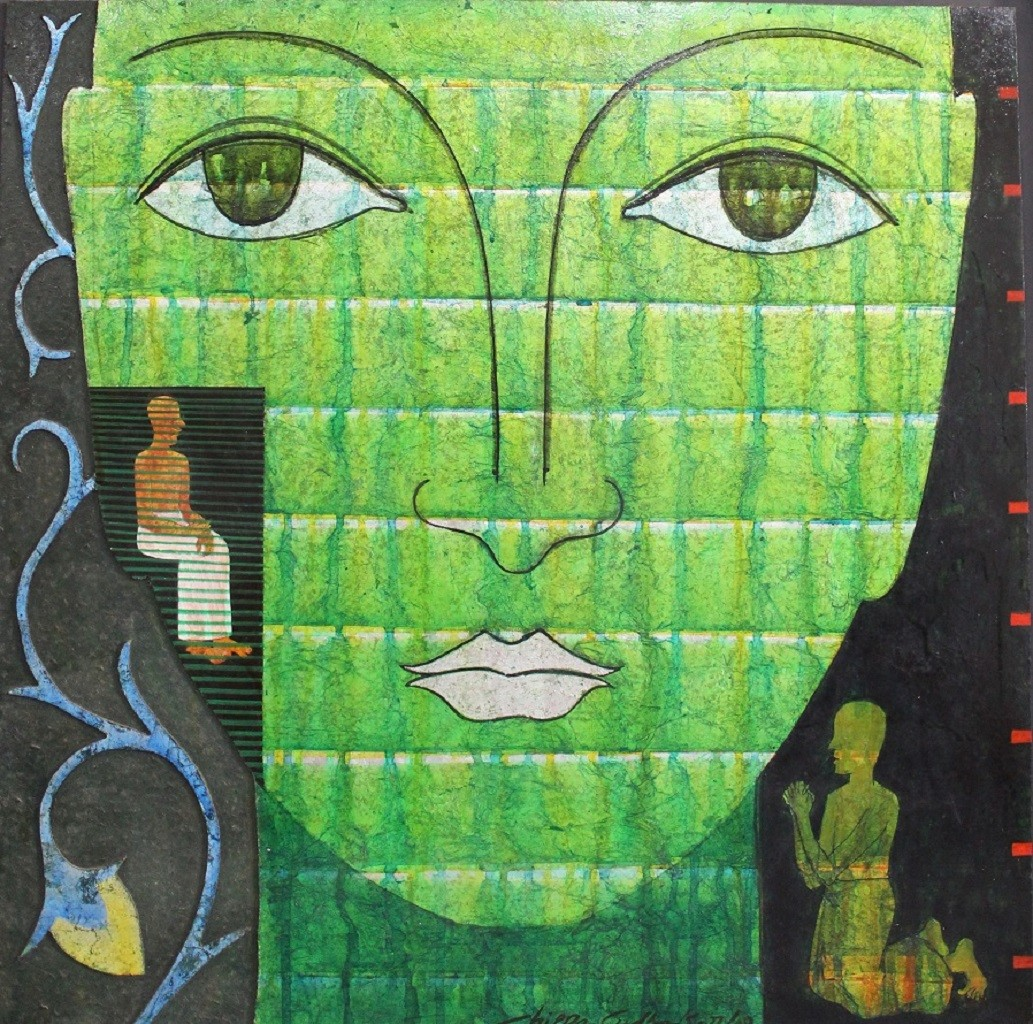 Untitled by Chippa Sudhakar, Decorative Painting, Mixed Media on Wood, Green color