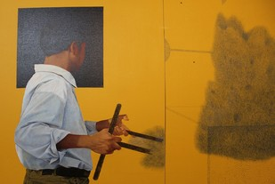 Pulling An Unknown Object by Kazi Nasir, Realism Painting, Acrylic on Canvas, Brown color