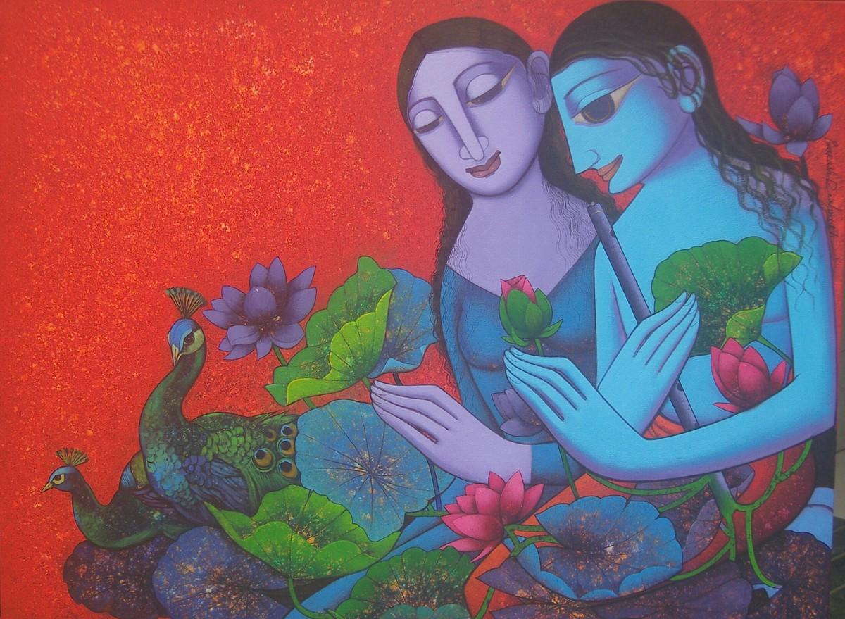 Radha Krishna by Prakash Deshmukh, Decorative Painting, Acrylic & Ink on Canvas,