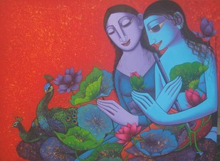 Radha Krishna by Prakash Deshmukh, Decorative Painting, Acrylic & Ink on Canvas,