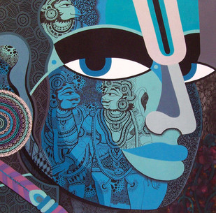 Lord Rama, Vali Sugriva by Bolgum Nagesh Goud, Expressionism Painting, Mixed Media on Canvas, Blue color
