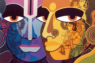 Lord Rama & Sita Maa by Bolgum Nagesh Goud, Expressionism Painting, Mixed Media on Canvas, Brown color