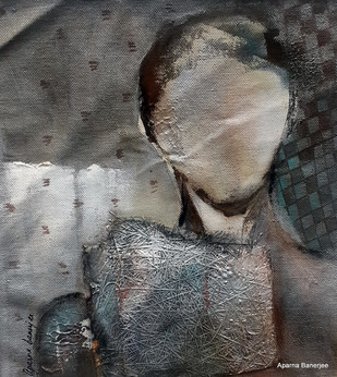 A Story to Tell 3 by Aparna Banerjee, Conceptual Painting, Mixed Media on Canvas, Gray color
