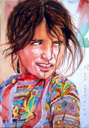 Girl in Pushkar by Sreenivasa Ram Makineedi, Realism Painting, Watercolor on Paper, Brown color