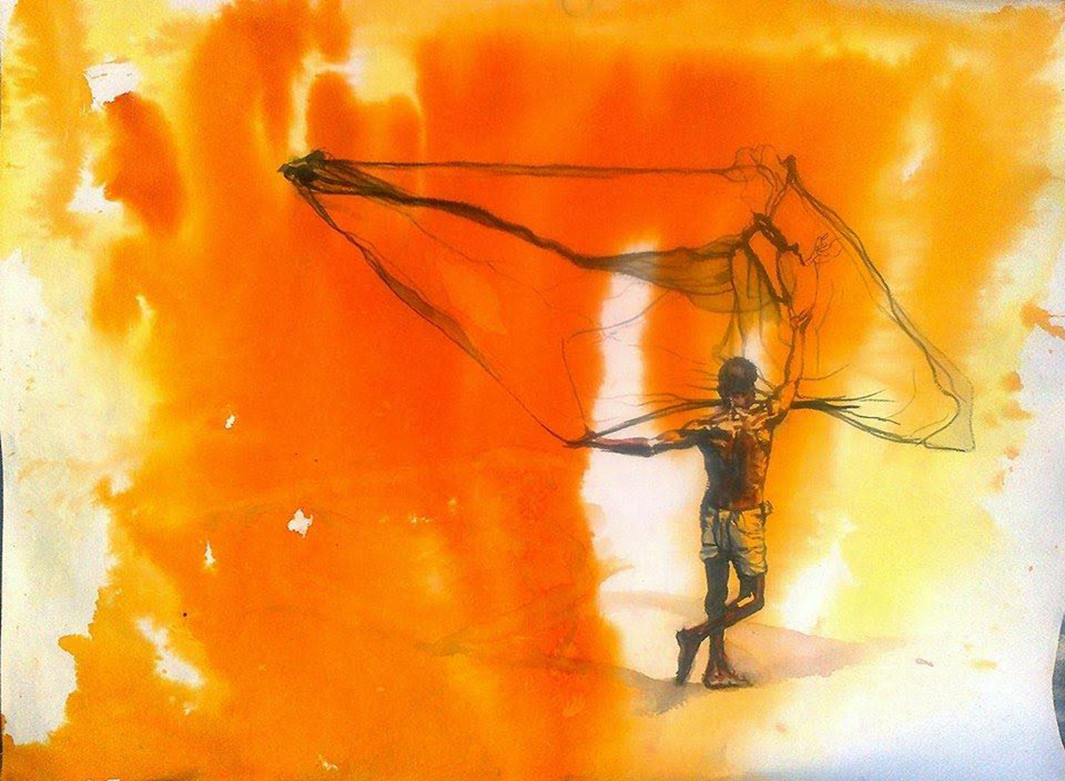 Fisher Man by Sreenivasa Ram Makineedi, Impressionism Painting, Watercolor & Ink on Paper, Orange color