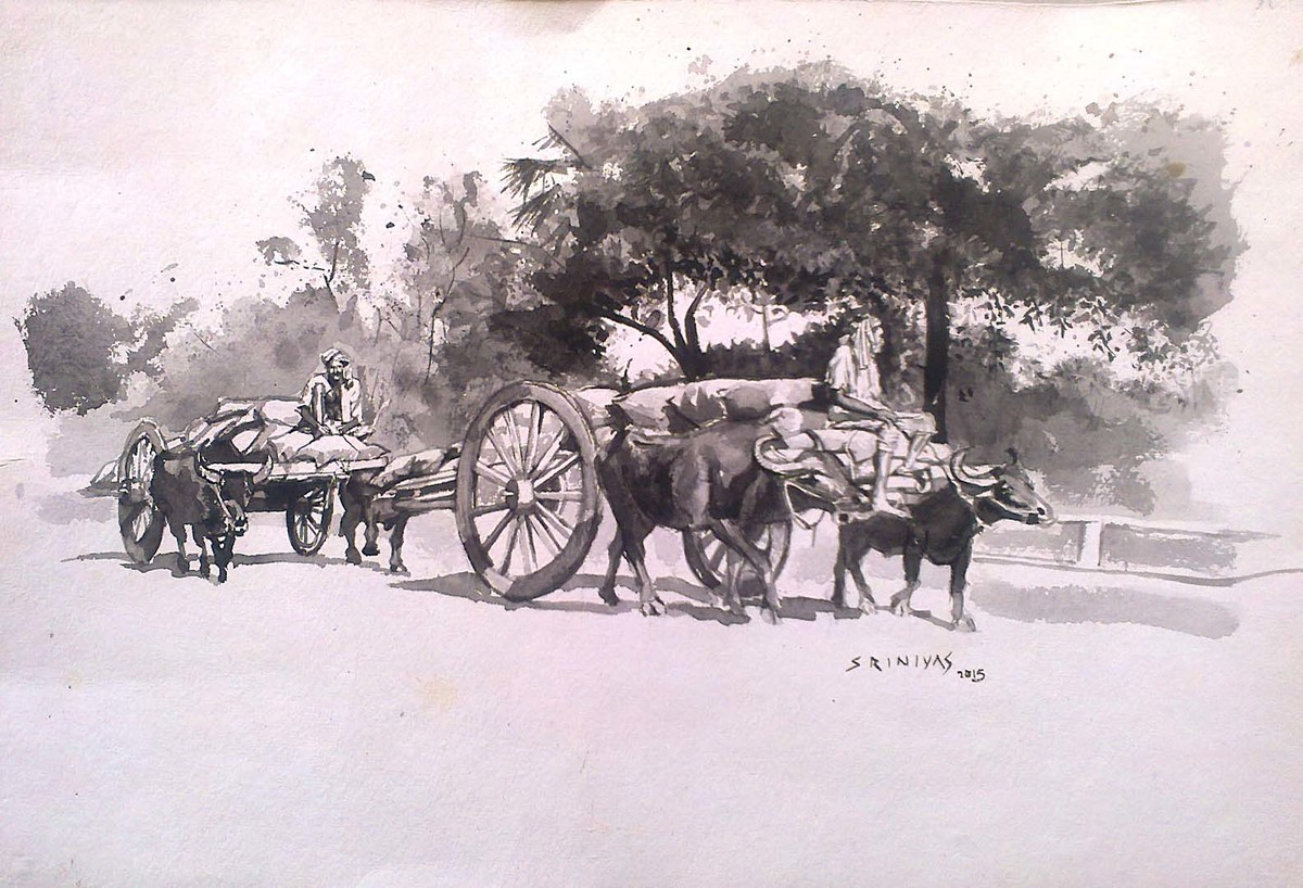 Village Scene by Sreenivasa Ram Makineedi, Impressionism Painting, Watercolor on Paper, Pink color