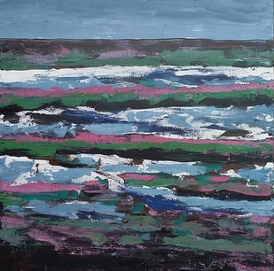 Landscape by Maredu Ramu, Impressionism Painting, Acrylic on Canvas, Green color