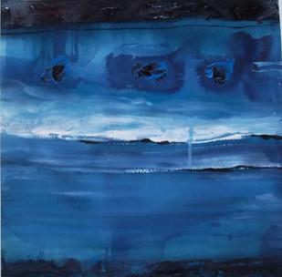 Shashwat 1 by Nishi Nitya sharma, Abstract Painting, Mixed Media on Paper, Blue color