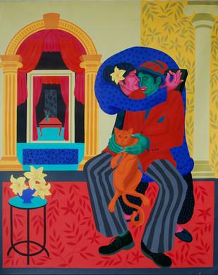 The Seduction Drama by Pradiptaa Chakraborty, Conceptual Painting, Acrylic on Canvas, Brown color