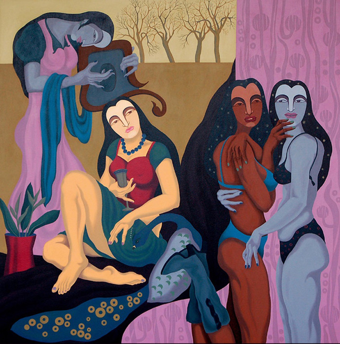 Polyphonic promiscuity by Pradiptaa Chakraborty, Conceptual Painting, Acrylic on Canvas, Brown color