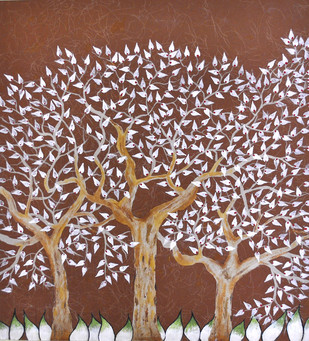 Tribhovan by Sumit Mehndiratta, Decorative , Oil on Paper, Brown color