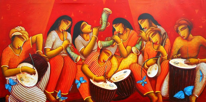 Sound 27 by Samir Sarkar, Decorative Painting, Acrylic on Canvas, Red color