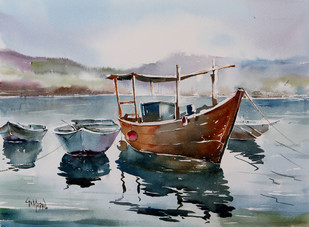 Boats & Reflections by GN Madhu, Impressionism Painting, Watercolor on Paper, Gray color