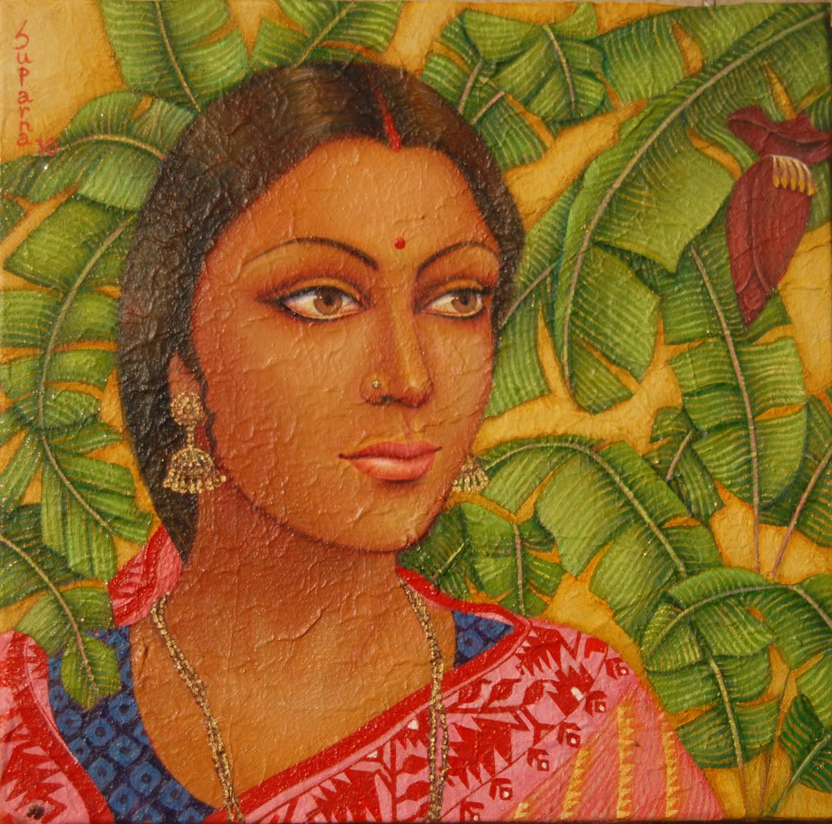 Bengali Bride I by Suparna Dey, Realism Digital Art, Oil on Canvas, Green color
